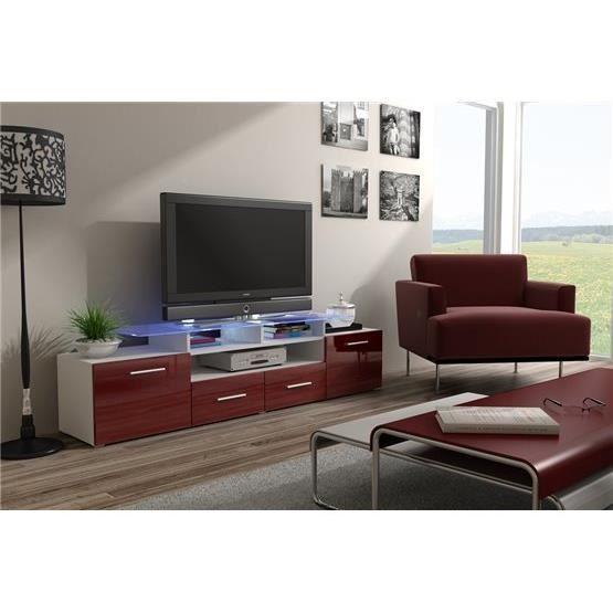 Meuble tv design evori blanc et bordeaux achat vente meuble tv meuble tv - Meuble design bordeaux ...