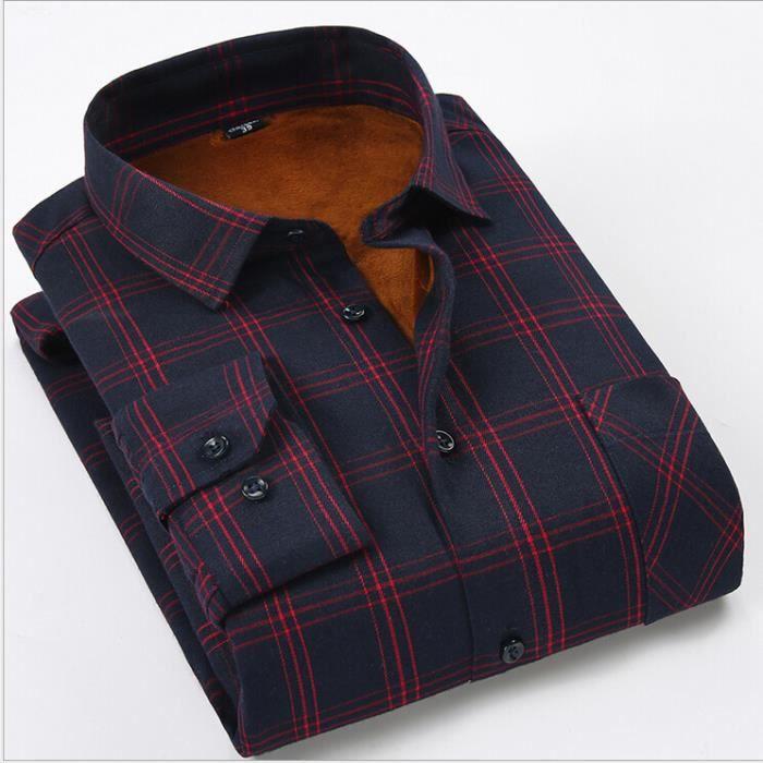 chemise homme de flanelle de l 39 hiver chaude et navy blue rouge achat vente chemise. Black Bedroom Furniture Sets. Home Design Ideas