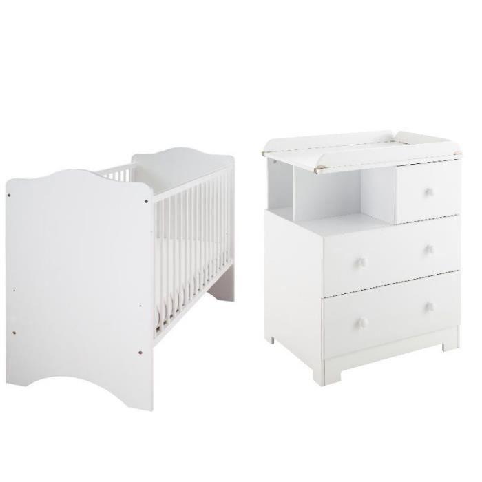 Commode 2 grands tiroirs 1 petit tiroir 2 casiers plan for Ensemble lit commode bebe