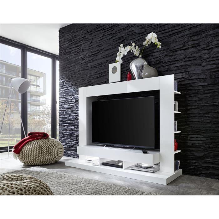 Meuble tv virgo blanc achat vente meuble tv meuble tv for Meuble tele pour chambre