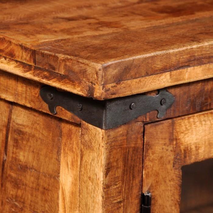 armoires et meubles de rangement armoire en bois brut de manguier avec portes en verre achat. Black Bedroom Furniture Sets. Home Design Ideas