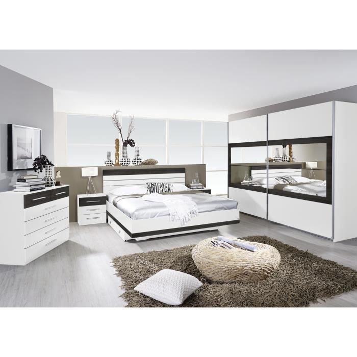 Chambre adulte compl te contemporaine blanche weng kamaro ii 180 x 200 cm - Chambre contemporaine blanche ...
