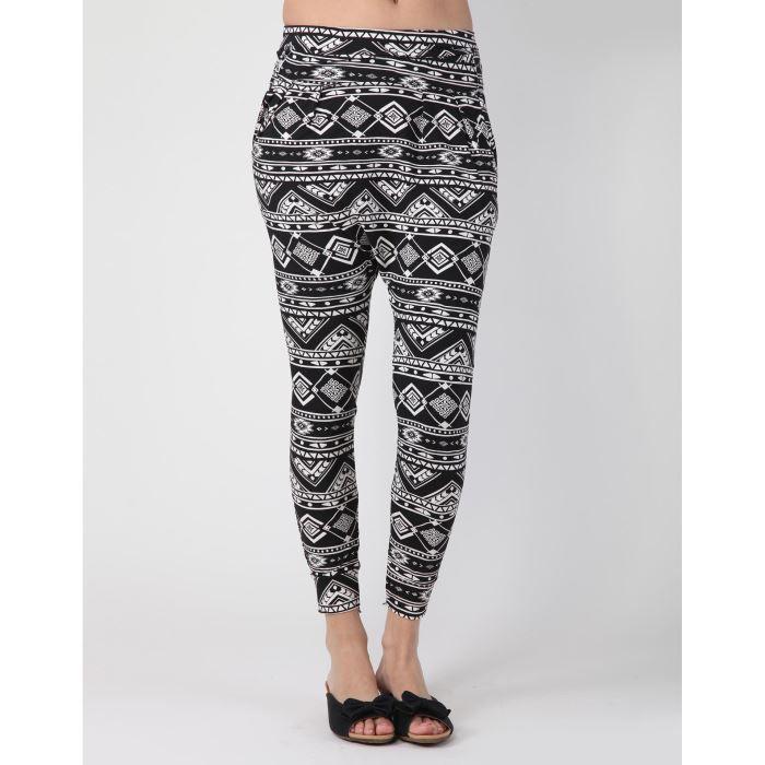 pantalon carotte motif azt que noir noir achat vente pantalon pantalon carotte motif. Black Bedroom Furniture Sets. Home Design Ideas