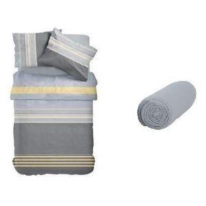 TODAY Pack SULLUST - 1 housse de couette 140x200 cm + 1 taie d'oreiller 63x63 cm + 1 drap housse 90x190 cm gris et bleu
