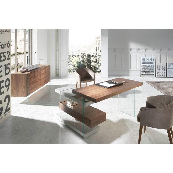 bureau d 39 angle design maze atylia couleur noyer achat. Black Bedroom Furniture Sets. Home Design Ideas