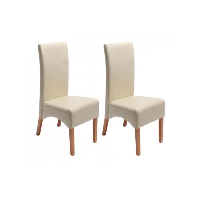 Chaises beige cuir achat vente chaises beige cuir pas - Chaise salle a manger pas cher lot de 4 ...