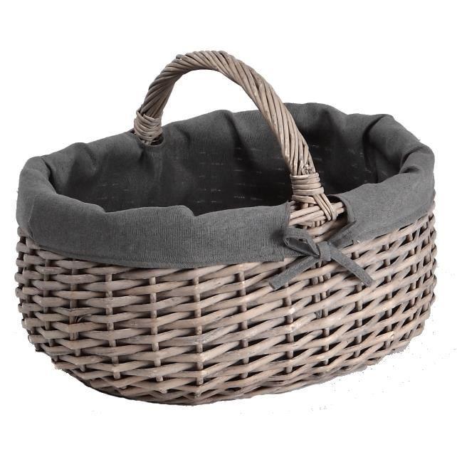 panier en osier gris ovale avec anse fixe et doublure grise tissu 100 coton achat vente. Black Bedroom Furniture Sets. Home Design Ideas