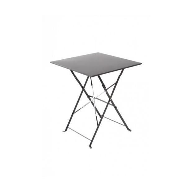 Magnifique table bistrot carr e gris carbone achat - Mange debout avec rangement ...