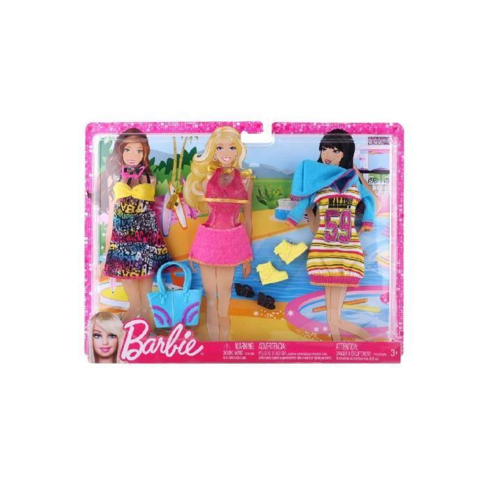 Mattel poupee tenues plage coffret de 3 habits barbie achat vente poup e cdiscount - Habit de plage ...