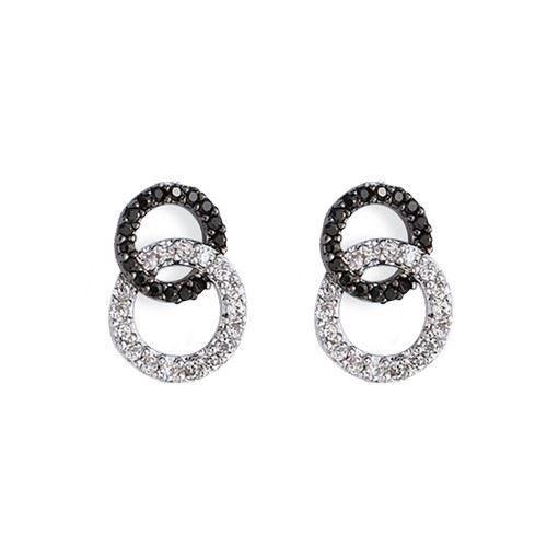 boucles d 39 oreilles argent zirconium noir et blanc achat vente boucle d 39 oreille boucles d. Black Bedroom Furniture Sets. Home Design Ideas