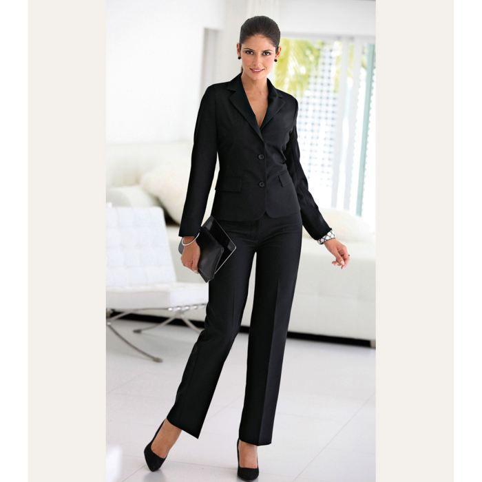 costume pantalon et veste femme noir achat vente costume tailleur cdiscount. Black Bedroom Furniture Sets. Home Design Ideas