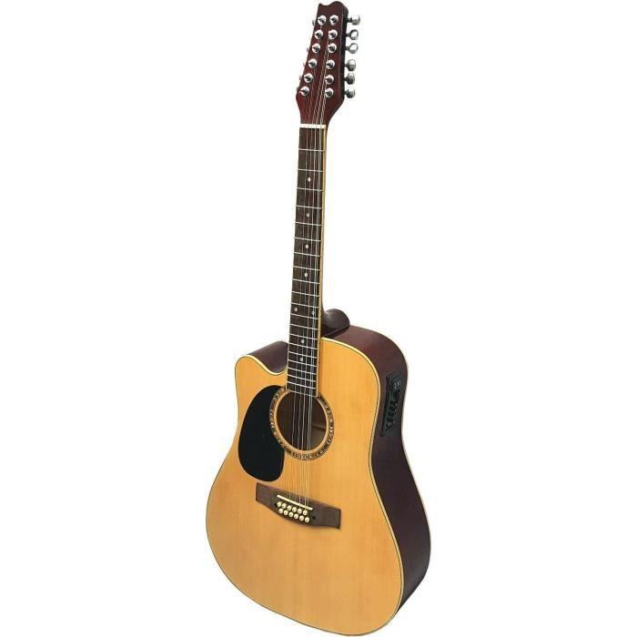 guitare electro acoustique 12 cordes nature pou pas cher. Black Bedroom Furniture Sets. Home Design Ideas