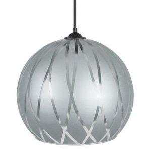BIA Lustre - suspension verre Globe,diam?tre 30 cm, décor lignes hexagonales, Aliminium