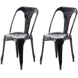 chaise metal industrielle noir - achat / vente chaise metal ... - Chaises Industrielles Pas Cher