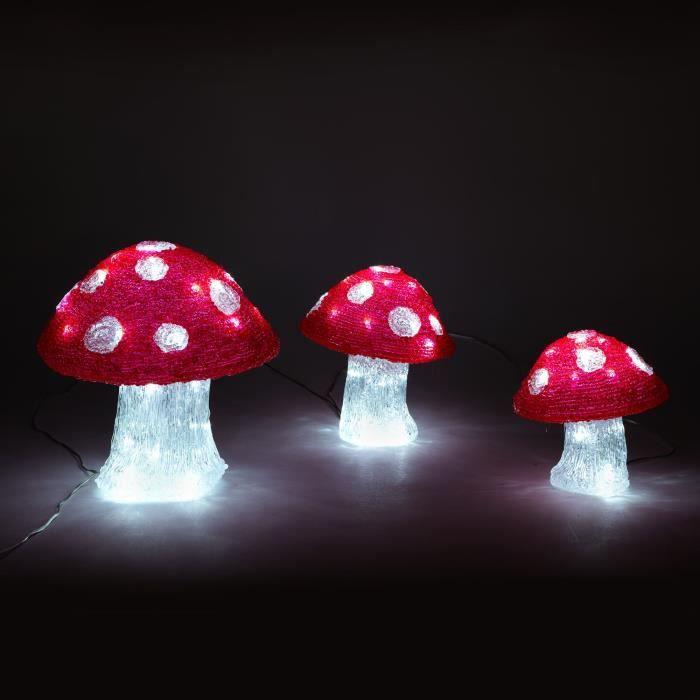 Lumi re de no l champignons lumineux led d18cm d20cm for Lumiere exterieur noel