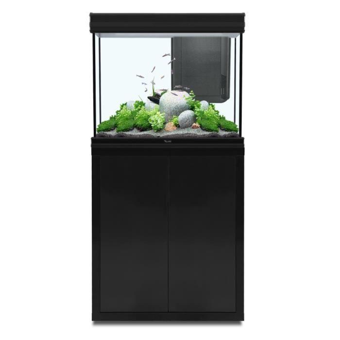 ensemble fusion aquarium meuble 70x50 led noir achat