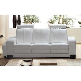Canap 3 places en cuir blanc design avec pouf achat for Canape 3 places avec pouf