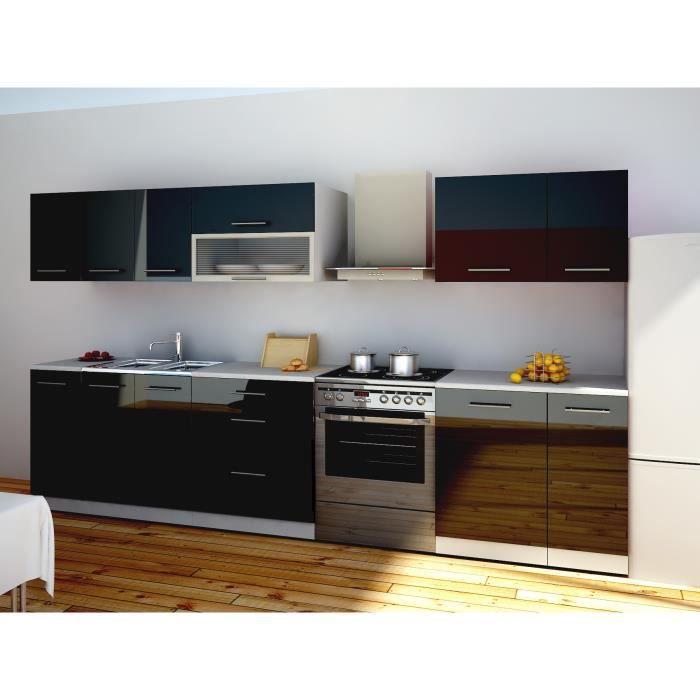 Cuisine 260 laquee noire achat vente cuisine compl te for Cuisine equipee laquee