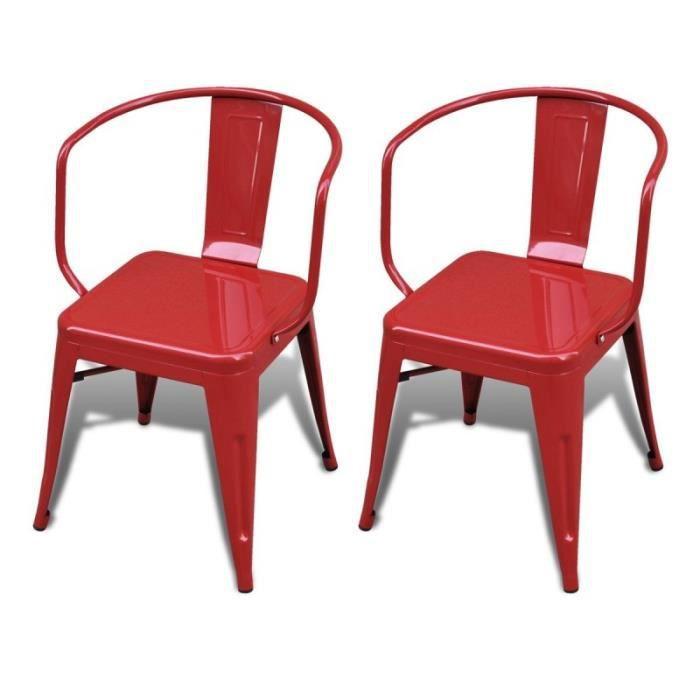 2 chaises de cuisine salon salle manger design acier factory rouge 1902019 achat vente for Chaise factory rouge