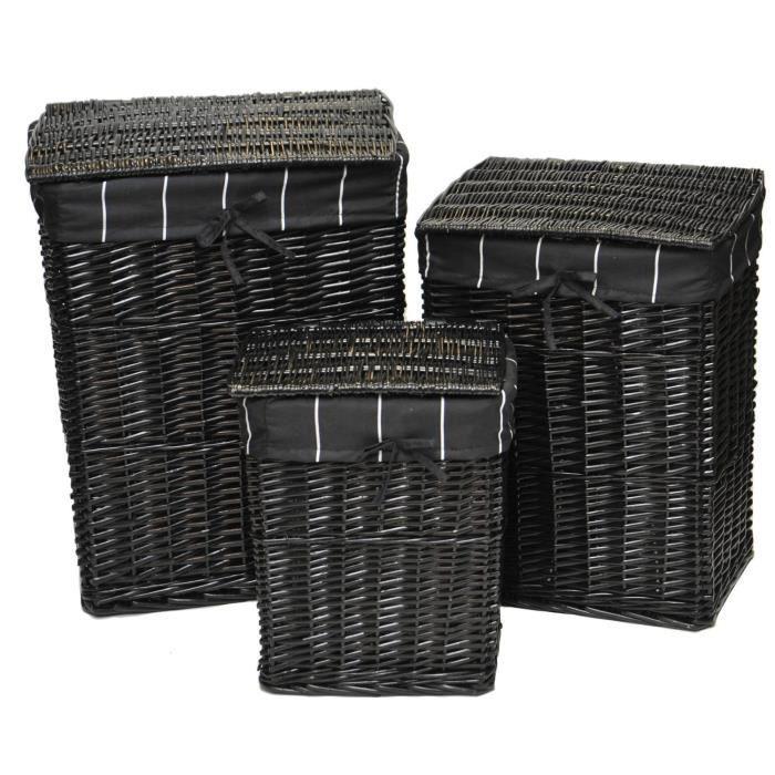 set de 3 coffres linge osier peint noir noir et blanc achat vente panier a linge set de. Black Bedroom Furniture Sets. Home Design Ideas