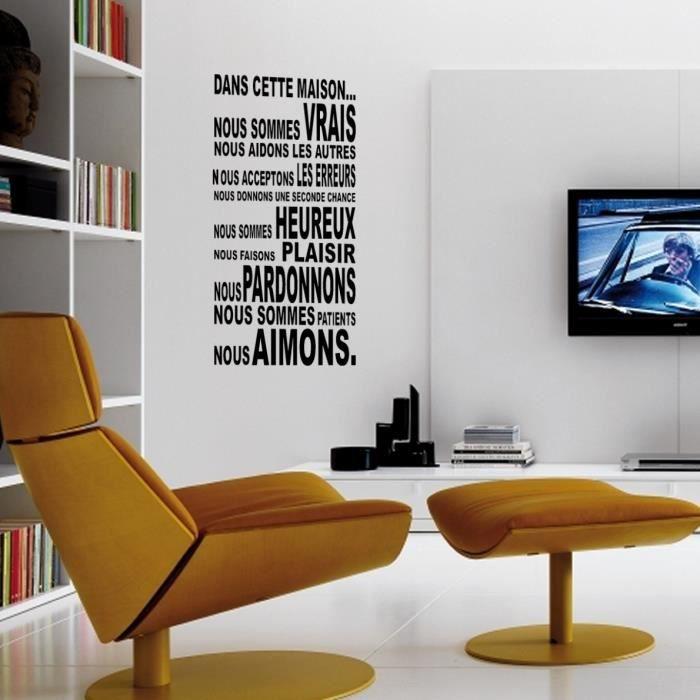 sticker mural dans cette maison sticker jaune soleil achat vente stickers soldes d t. Black Bedroom Furniture Sets. Home Design Ideas
