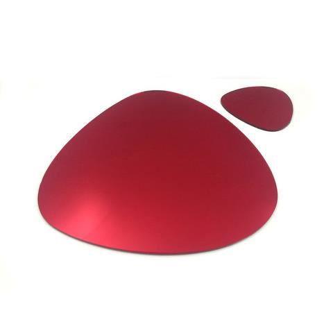 6 napperons rouge miroir de caillou et sous verres achat for Miroir 40x150