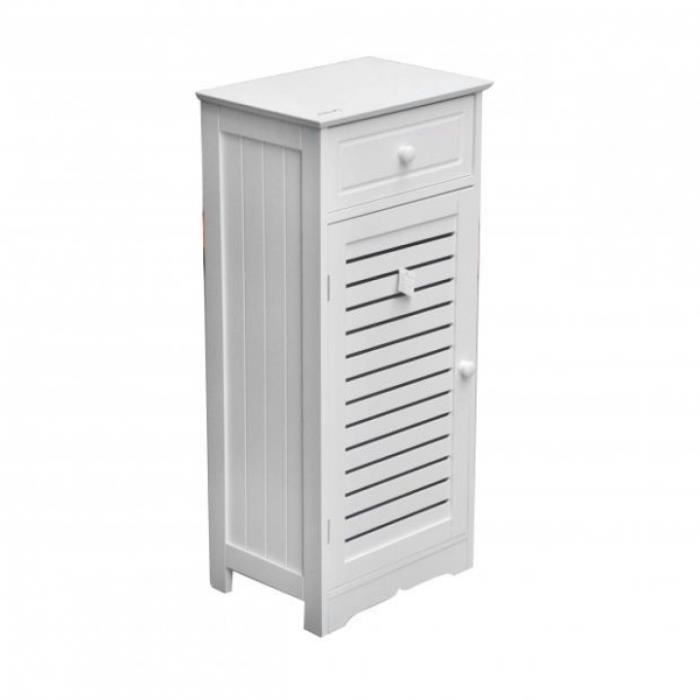 Meuble de salle de bain mah blanc 1 porte 1 ti achat - Bouton de porte meuble salle de bain ...