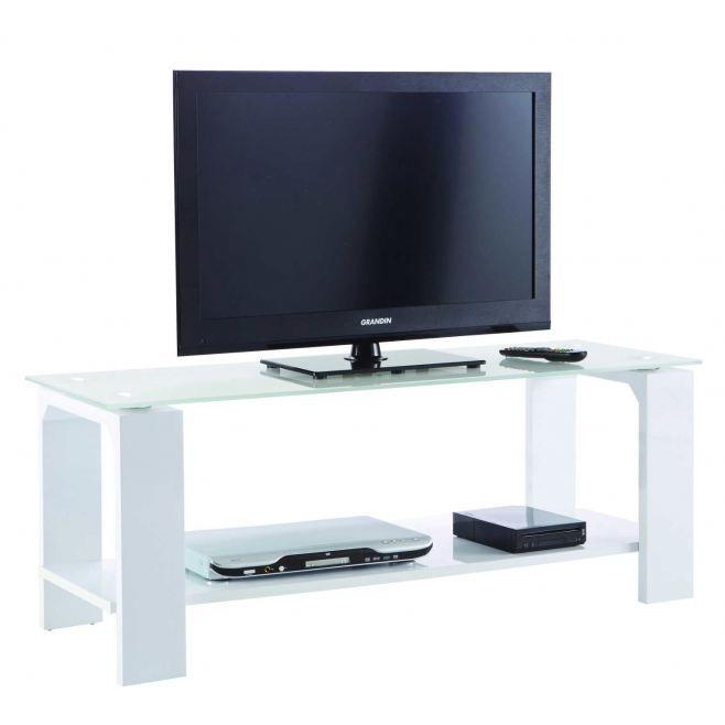 Banc tv 120 cm coloris blanc achat vente meuble tv for Banc tv blanc