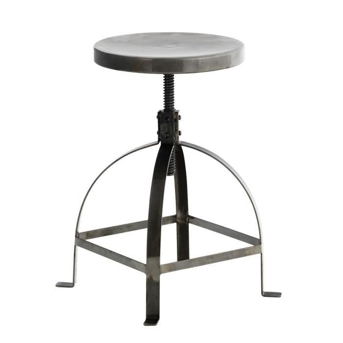 electrik tabouret de bar gris style industriel achat vente tabouret de bar gris structure. Black Bedroom Furniture Sets. Home Design Ideas