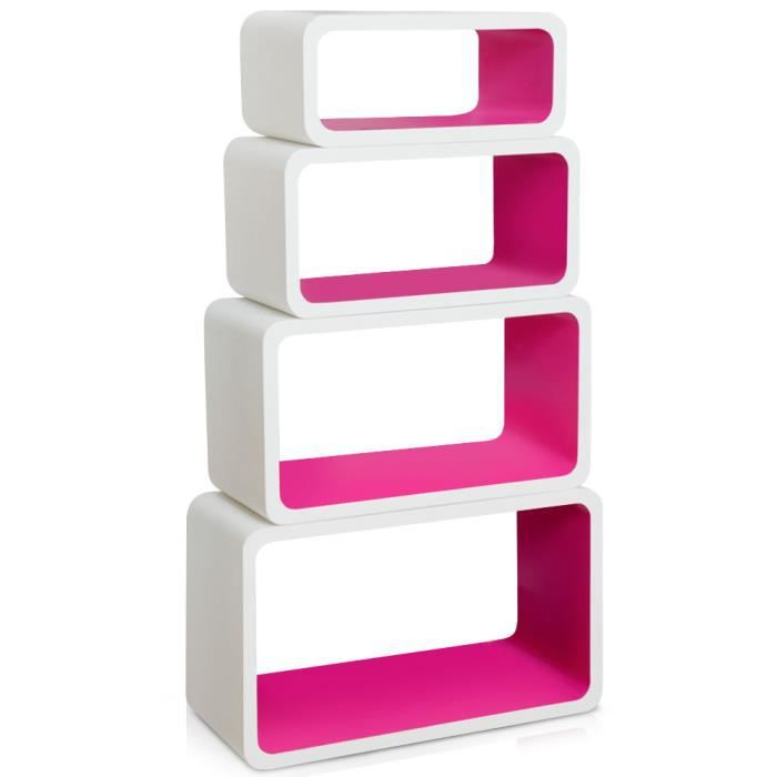 Tag res biblioth que cosmos blanc rose achat vente etag re murale tag res biblioth que - Etagere murale rose ...