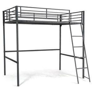 lit mezzanine 140x190 achat vente lit mezzanine 140x190 pas cher les soldes sur cdiscount. Black Bedroom Furniture Sets. Home Design Ideas