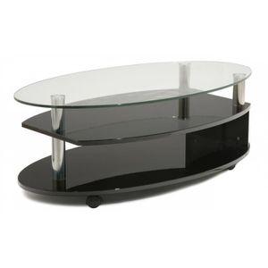 Table en verre noir laque achat vente table en verre for Table basse noir laque pas cher