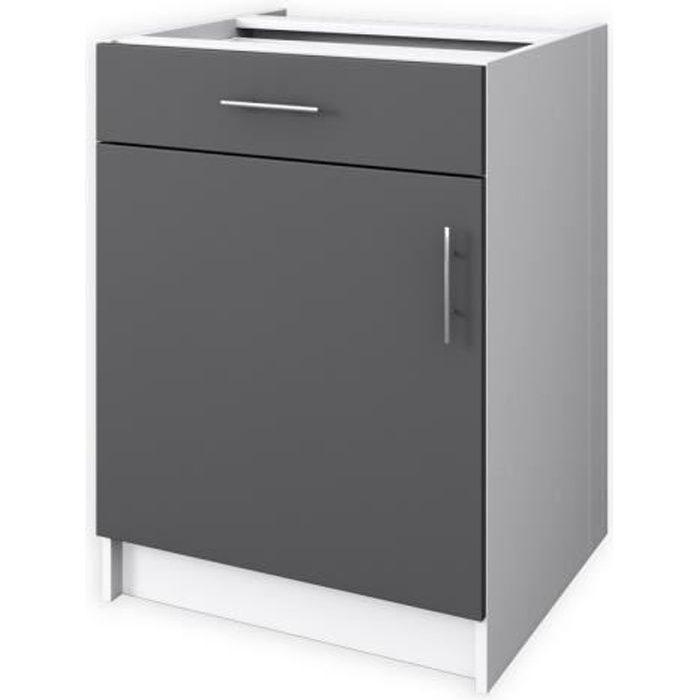 Obi meuble bas de cuisine 1 porte 60 cm gris mat achat - Meuble bas cuisine 60 cm ...