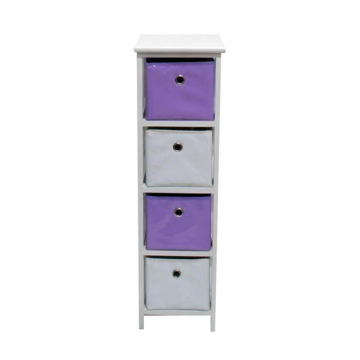 Meuble tahiti 4 paniers vinyle violet blanc achat for Meuble 4 paniers