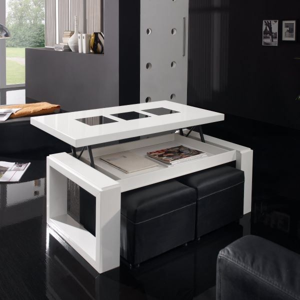 Table rabattable cuisine paris table basse laque blanc fly - Table relevable fly ...