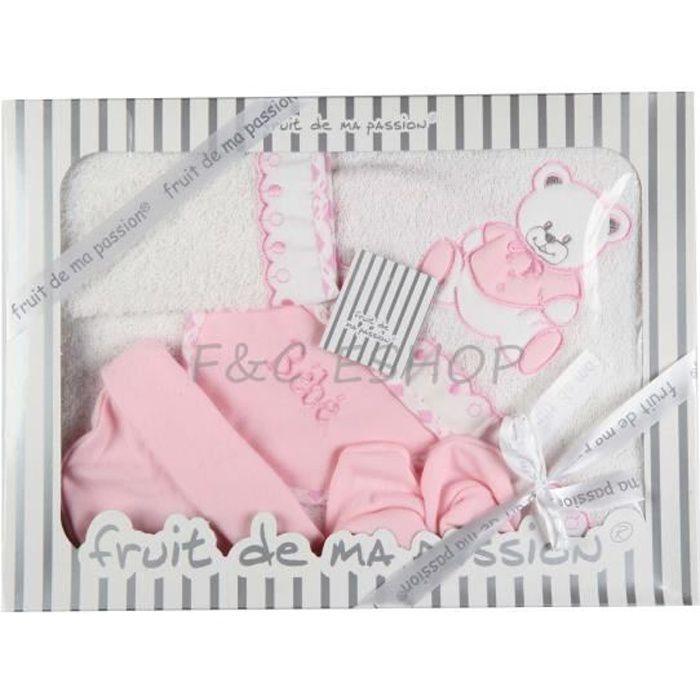 coffret parure de bain naissance blanc rose 6 pcs rose achat vente coffret cadeau textile. Black Bedroom Furniture Sets. Home Design Ideas