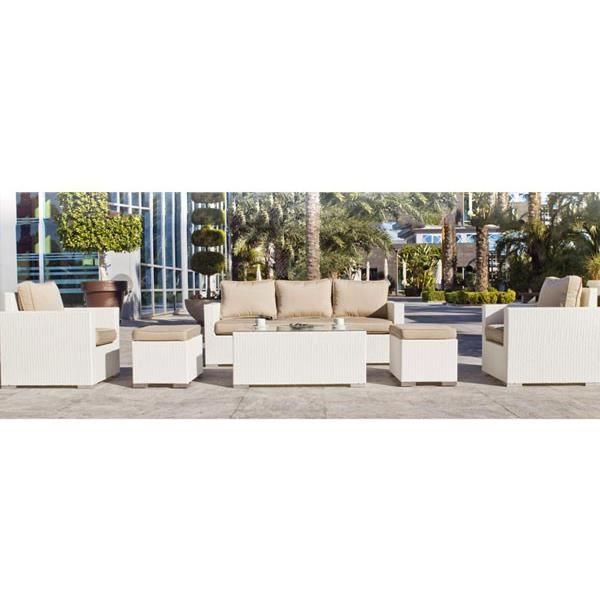 Salon de jardin 5 places tuscan 8 en r sine tress e osier avec coussins achat vente salon de - California salon de jardin 5 places ...