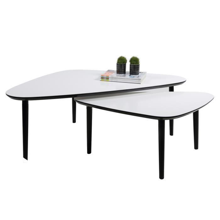 Ensemble De 2 Tables Basses Design En Bois Laqu Blanc