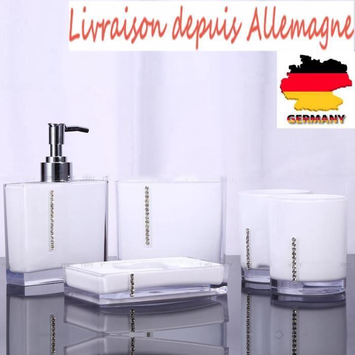 Set de 5 accessoires salle de bains pour savon brosse for Distributeur salle de bain