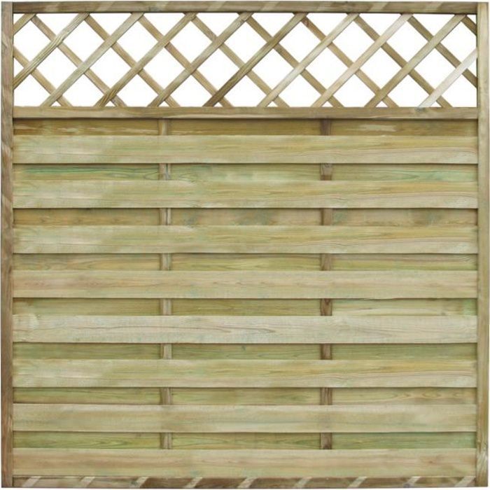 panneau de cl ture carr en bois avec treillis 180 x 180. Black Bedroom Furniture Sets. Home Design Ideas