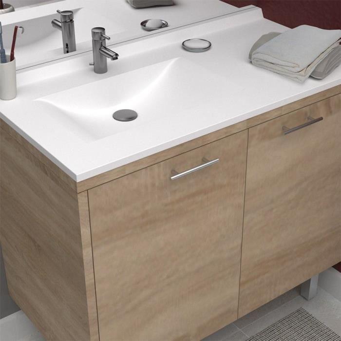 Creazur plan simple vasque gauche 105cm achat vente for Lavabo salle de bain rectangulaire