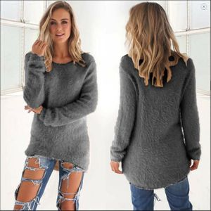 PULL Femme Pull Longue Blouse Top Mode Jersey Gris