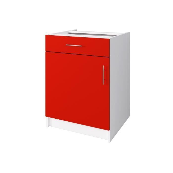 Obi meuble bas de cuisine 60 cm rouge mat achat for Meuble bas cuisine largeur 35 cm