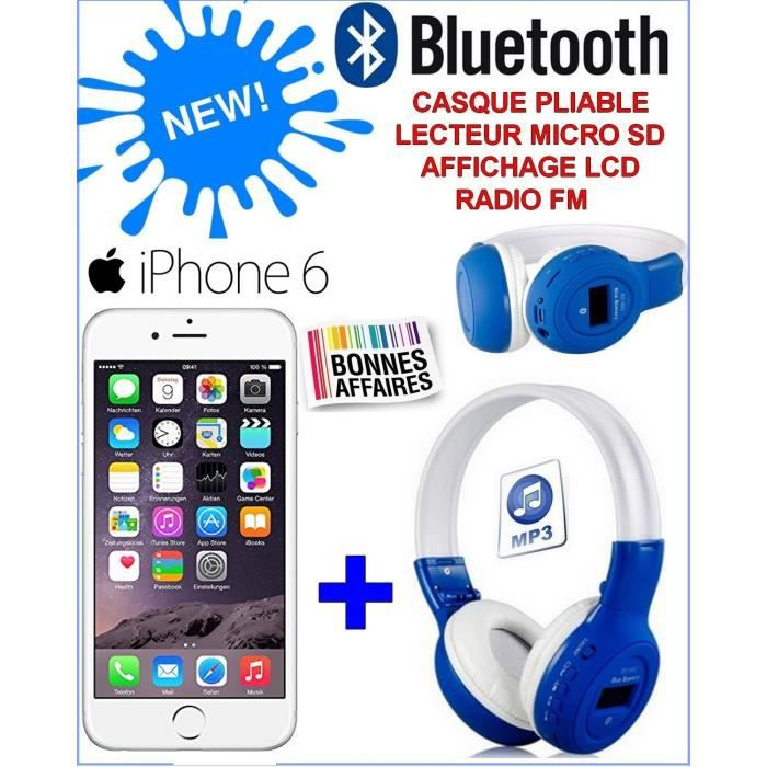 pack bluetooth apple iphone 6 argent casque stereo sans fil pliable radio achat smartphone. Black Bedroom Furniture Sets. Home Design Ideas