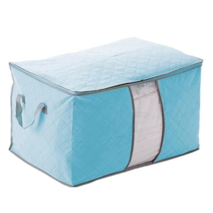 housse de rangement stockage sac bo te pliable pour couette v tement 60x42x36cm bleu achat. Black Bedroom Furniture Sets. Home Design Ideas