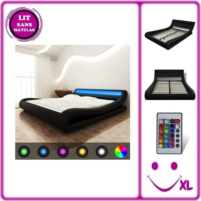 lit en similicuir avec t te de lit led 140 cm noir achat. Black Bedroom Furniture Sets. Home Design Ideas