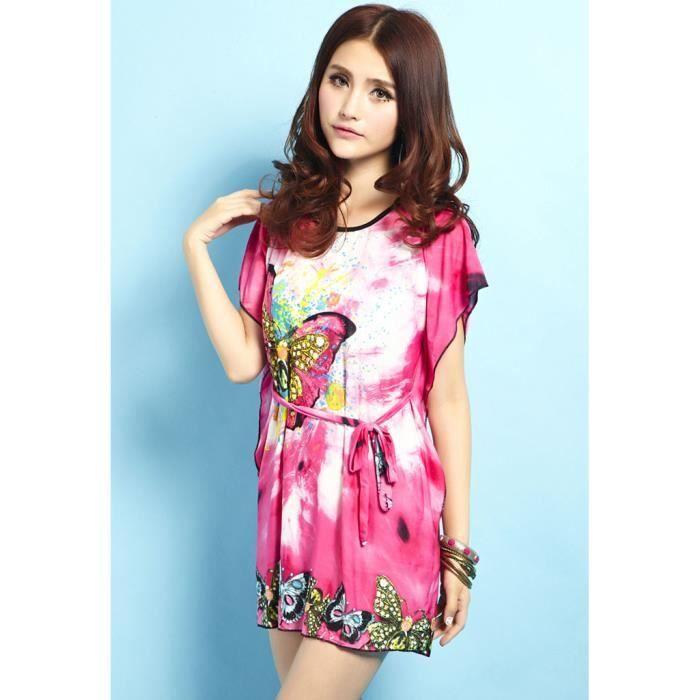 tenue l g re d t pour femme avec motif papillon rose achat vente tunique 2009937770060. Black Bedroom Furniture Sets. Home Design Ideas