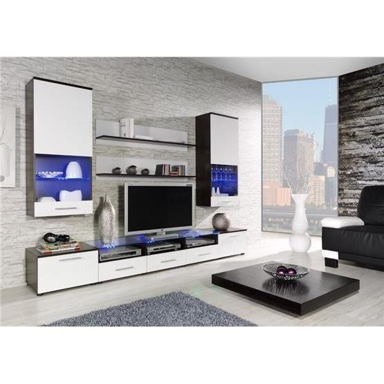 Ensemble meubles tv design cimi 2 weng et blanc composition bois laqu - Meuble tv design wenge ...