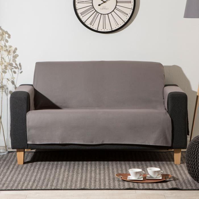 prot ge canap 3 places uni forme croix bachette 100 coton suzon taupe achat vente housse. Black Bedroom Furniture Sets. Home Design Ideas