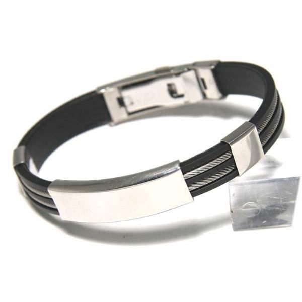 bracelet homme acier et caoutchouc gravure incluse achat vente bracelet gourmette bracelet. Black Bedroom Furniture Sets. Home Design Ideas